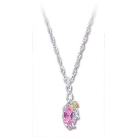 BLACK HILLS GOLD SILVER LADIES 10X5MM PINK CZ PENDANT NECKLACE