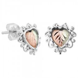Black Hills Gold on Sterling Silver Heart Earrings