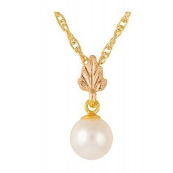 10K Black Hills Gold Pearl Pendant by Mt. Rushmore