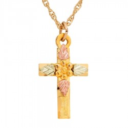 10K Black Hills Gold Small Cross Pendant by Mt. Rushmore