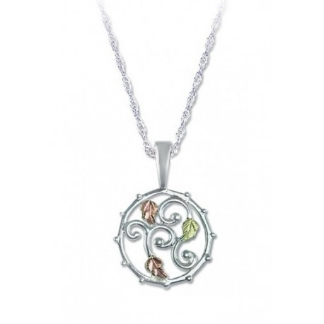 BLACK HILLS GOLD LADIES .925 STERLING SILVER PENDANT NECKLACE