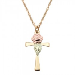 Mt. Rushmore 10K Yellow Gold Cross Pendant with Rose