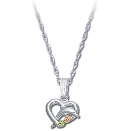 BLACK HILLS GOLD LADIES STERLING SILVER DOLPHIN HEART PENDANT NECKLACE