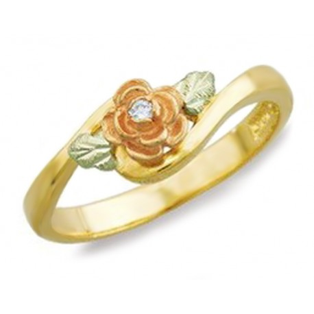 BLACK HILLS GOLD .02 TW DIAMOND ROSE RING for LADIES