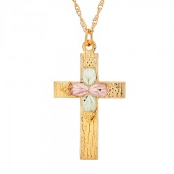 Landstrom's® 10K Gold Cross Pendant w Four Leaves