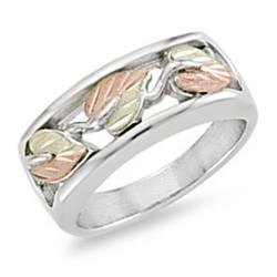 Landstrom's® Sterling Silver & 12K Gold Leaves Ladies Band Ring