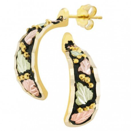 10k Gold Antiqued Black Hills Earrings