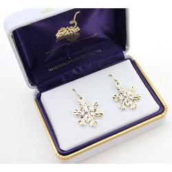 Landstrom's® Black Hills Gold on White Powder Coated Snowflake Earrings
