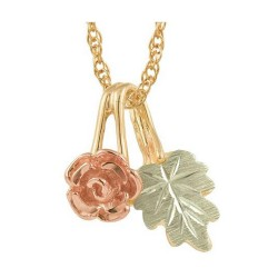 10K Small Black Hills Gold Rose and Leaf Pendant
