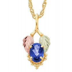 10K Black Hills Gold Leaf Pendant with Blue Sapphire
