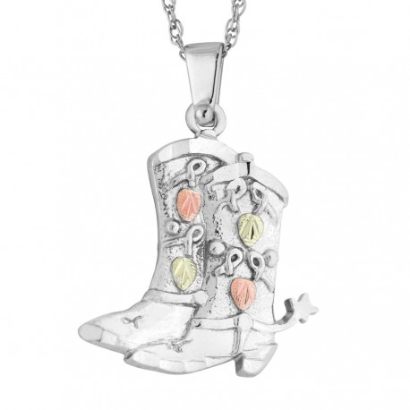 BLACK HILLS GOLD .925 STERLING SILVER BOOT PENDANT NECKLACE