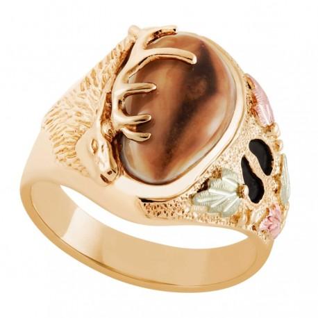 10K Black Hills Gold Men's Elk Ring with Elk Ivory