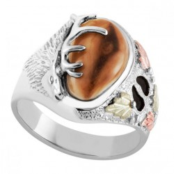 Black Hills Gold on Sterling Silver Men's Elk Ring with Elk Ivory
