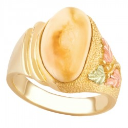 10K Black Hills Gold Ladies Ring with Elk Ivory