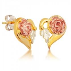 Mt. Rushmore 10K Black Hills Gold Heart Rose Earrings