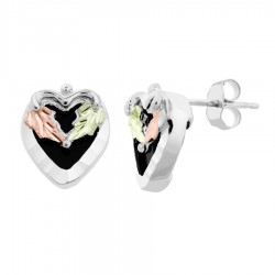Mt. Rushmore Small Sterling Silver Heart Earrings with Onyx