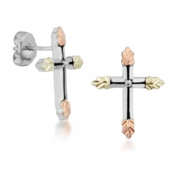 Mt. Rushmore Small Sterling Silver Antiqued Cross Earrings