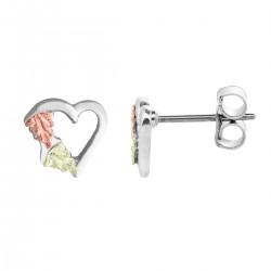 Black Hills Gold on Sterling Silver Heart Earrings Miniature