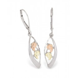 Black Hills Gold on Sterling Silver Ladies Leverback Earrings