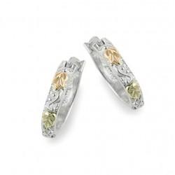 Black Hills Gold on Sterling Silver Whole Hoop Earrings