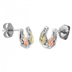 Black Hills Gold on Sterling Silver Miniature Horseshoe Earrings