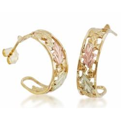 10K Yellow Black Hills Gold Hoop Earrings