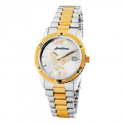 Black Hills Gold Men's Silver Dial Eagle Watch with Gold Trim