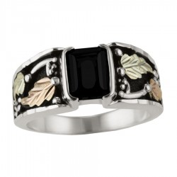 Black Hills Gold on Sterling Silver Men's Ring with Onyx