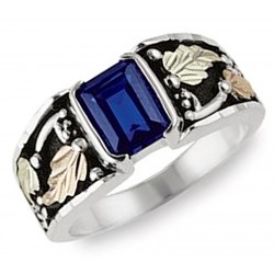 Black Hills Gold on Sterling Silver Men's Ring with Sapphire