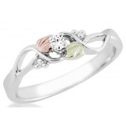 Landstrom's® Black Hills Gold on Sterling Silver Ladies Ring with CZ