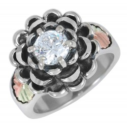 Size 9 Black Hills Gold on Sterling Silver Flower Ring with Cubic Zirconia