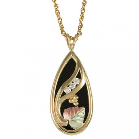 Black Hills Gold Necklace Pendant With Onyx And Diamond