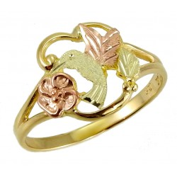 BLACK HILLS GOLD LADIES HUMMINGBIRD FLOWER RING