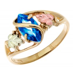 Size 9.5 10K Black Hills Gold Ladies Ring with Blue Topaz