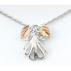 Landstrom's® Sterling Silver Angel Pendant with 12K Gold Leaves
