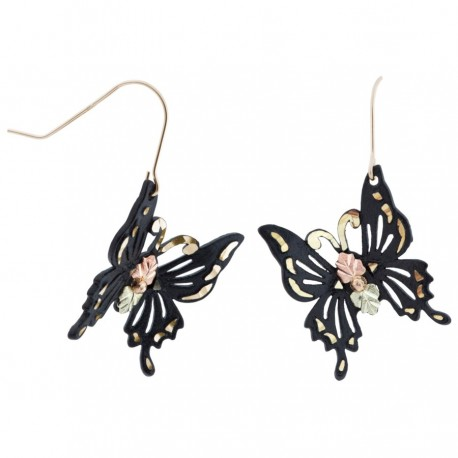 Black Hills Gold Black Powder Coated Butterfly Earrings with 12K Gold Leaves