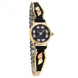 Landstrom's® Black Hills Gold Black Powder Coated Ladies Watch w 12K Gold Leaves