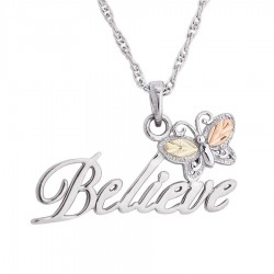 Black Hills Gold on Sterling Silver Believe Butterfly Pendant