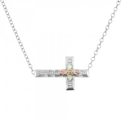Black Hills Gold on Sterling Silver Sideways Cross Pendant