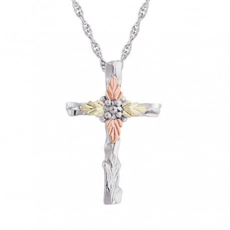 Black Hills Gold on Sterling Silver Cross Pendant with Chain