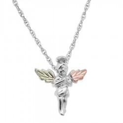 Black Hills Gold on Sterling Silver Mini Angel Pendant