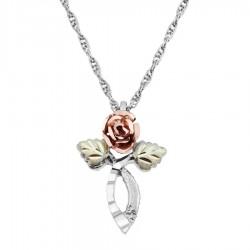 Black Hills Gold on Sterling Silver Rose Cross Pendant