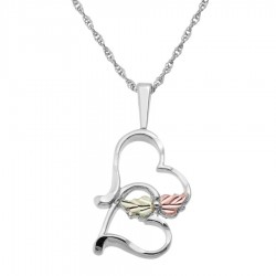 Lovely Black Hills Gold on Sterling Silver Double Heart Pendant