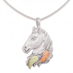 Black Hills Gold on Sterling Silver Horse Head Pendant
