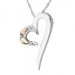 Black Hills Gold on Sterling Silver Modern Heart Pendant