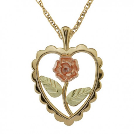 10K BLACK HILLS GOLD HEART AND FLOWER LADIES PENDANT NECKLACE