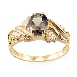 Size 8 10K Black Hills Gold Ladies Ring with Smoky Quartz