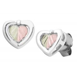 Small Black Hills Gold on Sterling Silver Heart Earrings