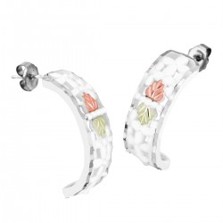 Landstrom's White Alloy Hoop Earrings with 12K Leaves