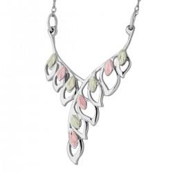 Landstrom's Black Hills Gold on Sterling Silver Leaf Necklace